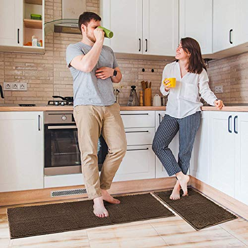Switory 2 Stück Küchenteppich Sets, Küchenläufer Rutschfestes Weiches Superabsorbierendes Küche Matten Fußmatte Teppich Set, Chenille MikrofaserMaterial, 43×122cm +43×61cm (Braun)