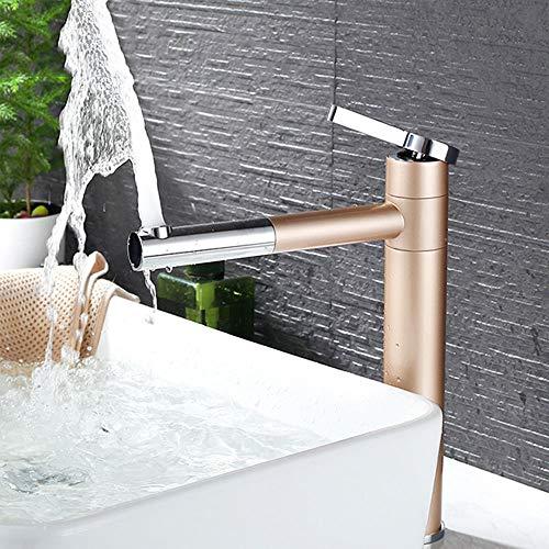 HomeLava 360° Drehbar Waschtischarmatur Schwenkbar Wasserhahn Bad Moderne Einhebelmischer Badarmatur Mischbatterie Armatur Hoch für Badezimmer Waschbecken Champagner Gold