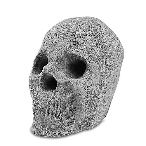 QuliMetal Imitated Human Skulls Gas Log for Indoor or Outdoor Fire Pits, Fireplaces, Halloween Decor, Campfire, Ceramic Wood Gas Fire logs for Halloween, Costume Party Decor, 7.3 Inch, 1 Pack
