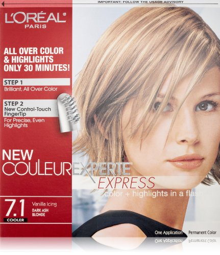 L'Oreal Paris Couleur Experte Color + Highlights in a Flash, Dark Ash Blonde - Vanilla Icing (Dark Brown Hair With Blonde Highlights On Top)
