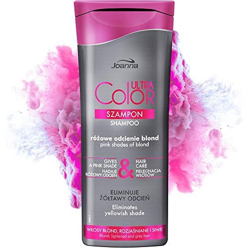 Joanna Ultra Color - Shampoo für Rosa Blond-Töne - Stärkendes revitalisierendes Haar-Shampoo - Farbauffrischung & Haarpflege - Neutralisiert gelblichen Farbton - Shampoo für glanzloses Haar - 200 ml