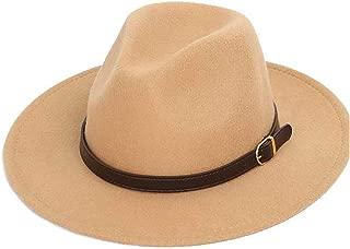 Hats and Caps 2Size Panama Hat for Men Women Leather Belt Wide Brim Fedora Hat Wool Blend Hat Outdoor Casual Hat Top Jazz Hat (Color : Khaki, Size : 59-61CM)