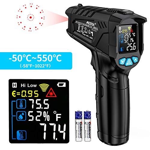 Termometro a Infrarossi MESTEK Digitale Laser Temperatura a Pirometro -50 °C ~ 550 °C con Schermo LCD a Colori Regolabile Emissività Impostazione Max/Hold Retroilluminazione per Esterni Interni