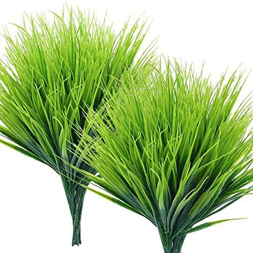YUPVM 15 Mazzi di Erba di Grano Artificiale e Arbusti di Plastica Verde Finti per la Decorazione di Finestre da Interni Ed Esterni