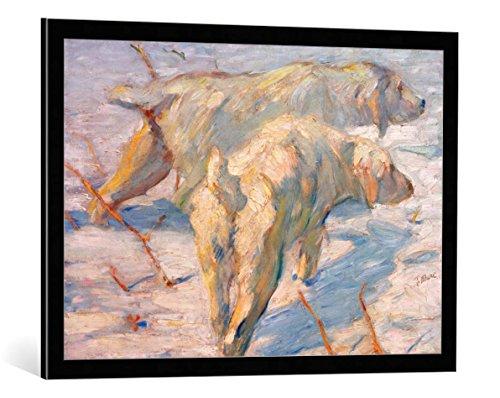 kunst für alle Bild mit Bilder-Rahmen: Franz Marc Sibirische Schäferhunde Sibirische Hunde im Schnee - dekorativer Kunstdruck, hochwertig gerahmt, 85x60 cm, Schwarz/Kante grau