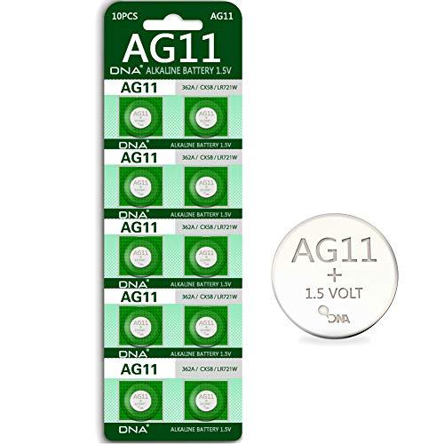 DNA 10 x AG11 Alkaline Knopfzelle G11 LR58 LR58SW LR721 LR721SW SR721W 361 362 Typ