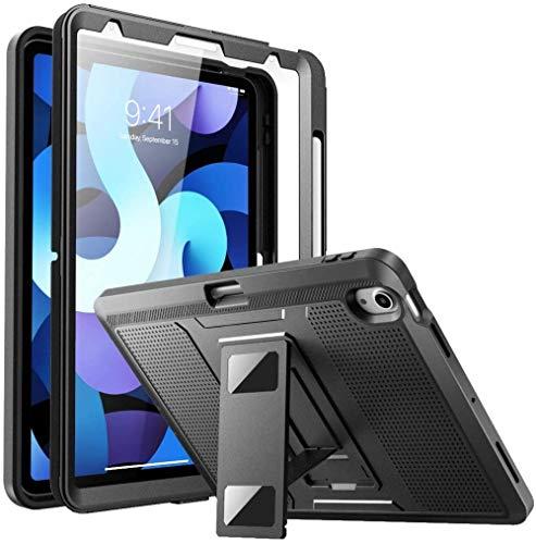 "SaharaCase Defense Protection Case for iPad Air 10.9"" (4th Gen 2020) [Shockproof Bumper] Rugged Antislip Grip Screen Protector Kickstand - Black"