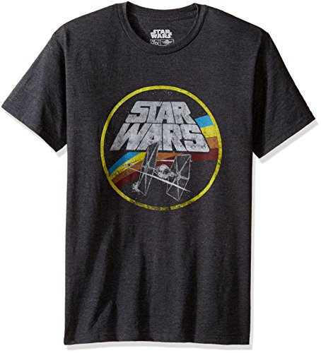 Star Wars Classic Logo and TIE Fighter Men's Short Sleeve T-Shirt, Charcoal Heather, Medium