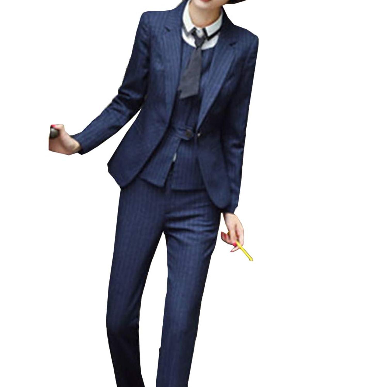 [美しいです] ストライプ ブレザー 二点セット 洋服 ビジネス オフィス セットスーツ 面接用 エレガント ブレザー 一つボタン スーツ 通勤 パンツスーツ