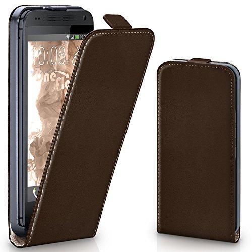MoEx® Flip Case mit Magnetverschluss [Rundum-Schutz] passend für HTC One Mini | 360° Handycover aus feinem Premium Kunst-Leder, Dunkel-Braun