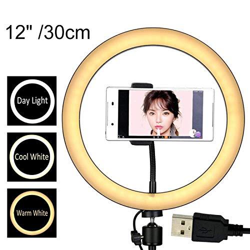WYZQ Luz de Anillo 12/10/8 Pulgadas Fotografía LED Selfie Ring Light con trípode Soporte para teléfono Enchufe USB Photo Studio Ring Light con Soporte Accesorios 12 Pulgadas