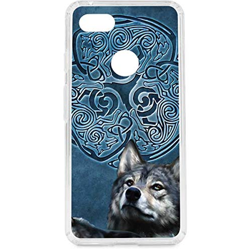 Skinit Clear Phone Case Compatible with Google Pixel 3 XL - Originally Designed Celtic Wolf Design