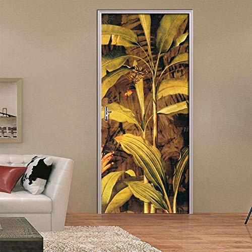 Cjzyy 3D Zelfklevende deur muurschilderingen Schil en Stick Decor Stickers Hand Geschilderde Banaan Bladeren Verf Slaapkamer Woonkamer Decoratieve PVC Behang Verwijderbare Kunst Poster 95x215cm