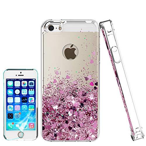 Atump Funda iPhone SE, iPhone 5S iPhone 5 Glitter Fundas Líquido Silicona TPU Antichoque Fundas de teléfono + Protector de Pantalla HD para teléfonos móviles iPhone 5 Rose Gold