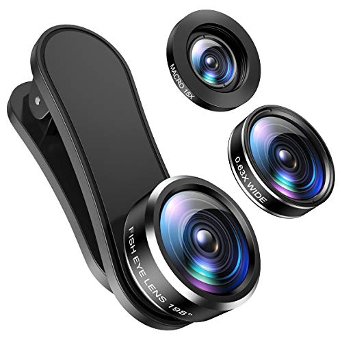 (2020 New) Phone Camera Lens, 198°Fisheye Lens, 15X Macro Lens and 0.63X Wide Angle (Screwed Together), Clip on 3 in 1 Cell Phone Lens Kit Compatible with iPhone, Most Android Phones, Samsung
