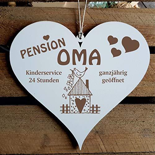 Schild Herz « PENSION OMA - ganzjährig geöffnet » ca. 13 x 12 cm - mit Motiv VOGELHAUS - Türschild Dekoschild Geschenk Großeltern - Großmutter Enkel Enkelkinder