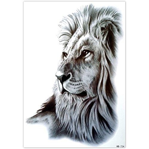 EROSPA® Tattoo-Bogen temporär - Aufkleber Löwenkopf - 21 x 15 cm