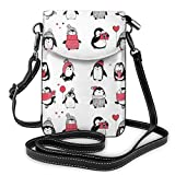 Jiger Women Small Cell Phone Purse Crossbody,Cute Penguins Hand Drawn Style Set Merry Christmas Greetings Babies Kids Toddler