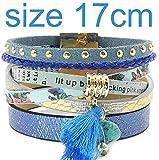 PopularBP Summer Leather Bracelet 5 Color Women Charm Bracelets Bohemian Bracelets & Bangles Wholesale Jewelry for Women,blue17cm