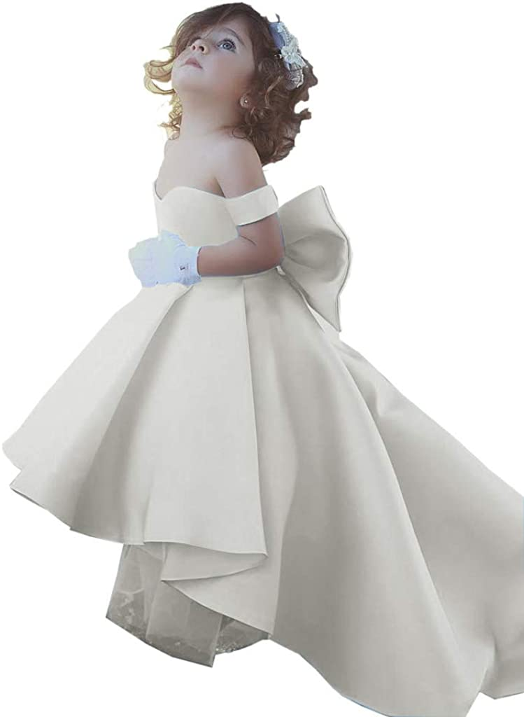Libaosha Off The Shoulder High Low Satin Pageant Flower Girl Dress for 3-12 Years Old