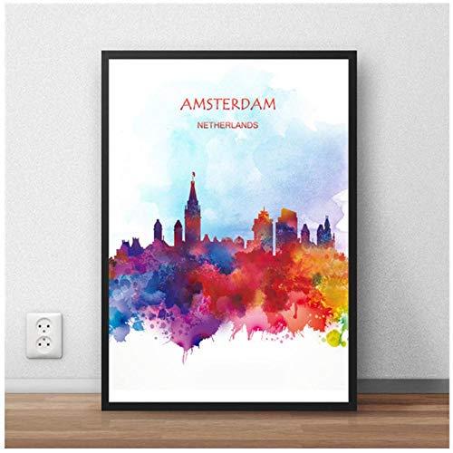 MULMF Moderne abstracte canvas wereldkaart Amsterdam stad affiche schilderij print woonkamer café Home Decoratie - 50Cmx70Cm niet ingelijst