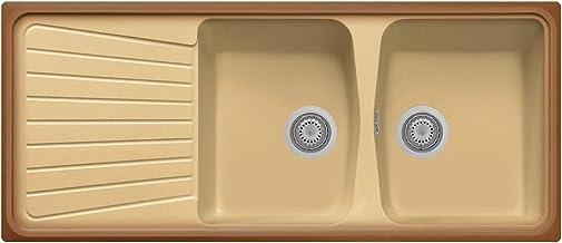 Lavello plados spazio 116.20 a due vasche più scolapiatti terra di francia SP1162