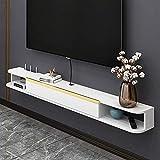 Mueble TV de Pared, Mueble de TV Flotante Madera, Consola Multimedia TV Montaje en Pared Mate para Sala de Estar, Dormitorio, Estante para Componentes de TV/Blanco / 140x21.8x16cm