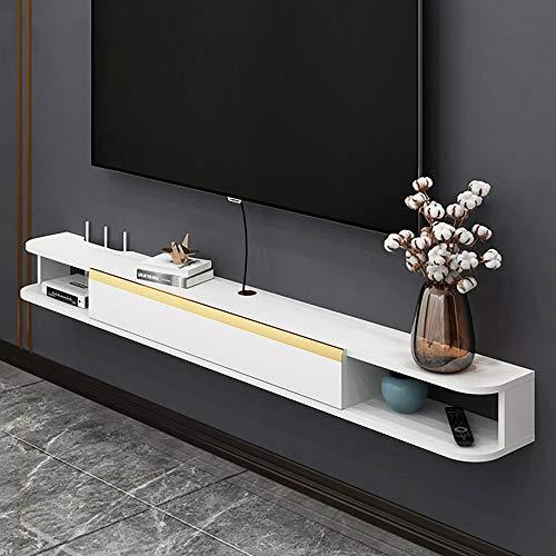 Mueble de TV Mesa Flotante,Unidad de TV Flotante Multifuncional,Madera Maciza Mueble TV colgante para Sala de Estar Dormitorio FáCil Limpieza/A / 120cm