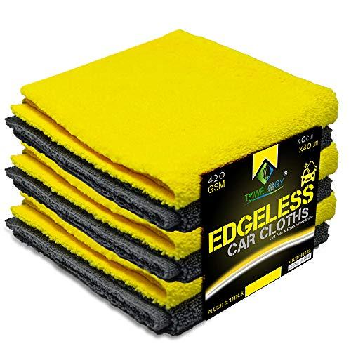 Towelogy 420 g/m² paños profesionales de microfibra sin bordes de secado rápido para limpieza de autos/motos, lavado sin manchas y sin pelusas, 40 x 40 cm (carbón/amarillo, 4 unidades)