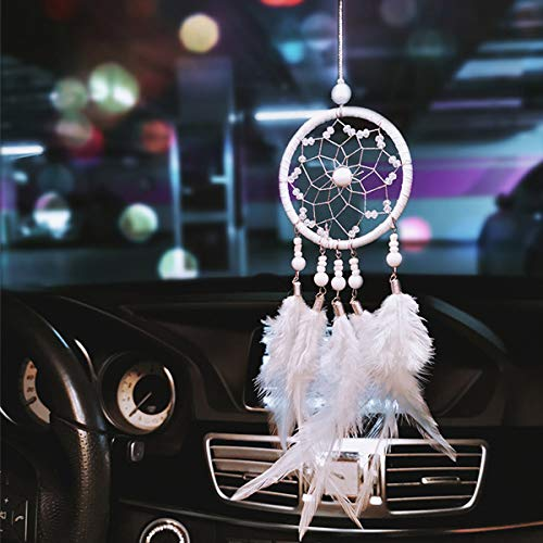 Dream Catchers for Cars Rear View Mirror, Small Feather Dream Catcher Wall Hanging Car Deco Accessories for Women (White)