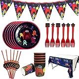 ALHX Set de Fiesta de cumpleaños de Among Us 26 PCS Among Us Party Decoration Set Platos Tazas Servilletas Pack de Fiesta Mantel Sirve para 6 Invitados