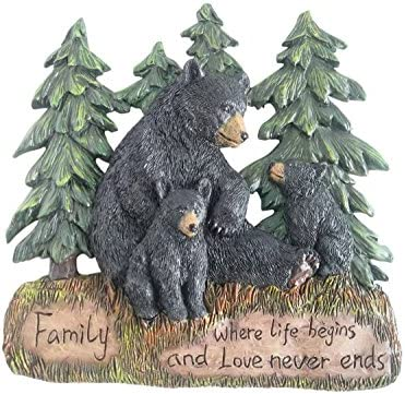 Rustic Home Decor Kitchen Signs Black Bear Decor Family Wall Plaque Made From Polyresin Black product image