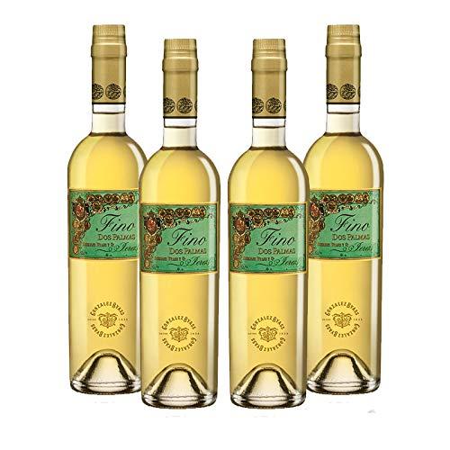 Wein Amontillado Fino Dos Palmas de 50 cl - D.O. Jerez - Bodegas Gonzalez Byass (4 Flaschen)