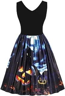 Summer Autumn Women Sleeveless Vintage Pumpkins Halloween Evening Prom Costume Swing Dress