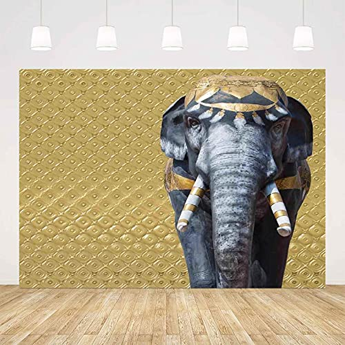 7x5 FT Elephants Decor Microfiber Background Backdrop, Elephant Statue on Abstract Background Baroque Victorian Swirly Royal Classic Decorative Wall Backdrop, for Video Photography and Television