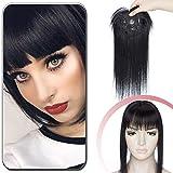 Volumateur Cheveux Naturel Avec Frange Pour Femme - Extension a Clip Cheveux Naturel Pour Plus de Volume (#01 NOIR FONCE, 30 cm)