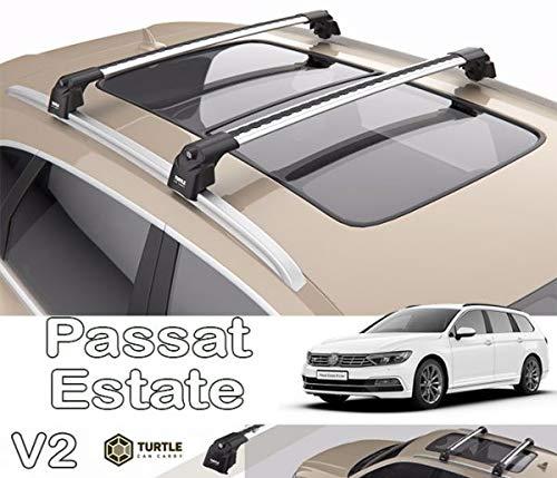 TURTLE Compatible con Volkswagen Passat Wagon Silver Air V2 baca Cross Bar