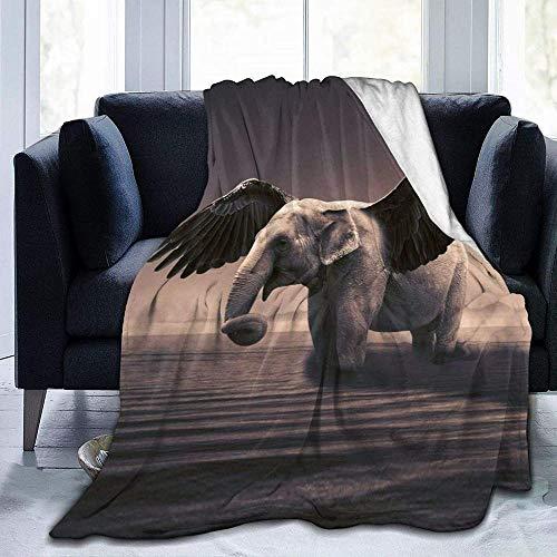 DWgatan Couverture,Jeté de lit Super Chaud en Polaire Easy Care,100% Polyester léger canapé Confort Enfants, Chambre à Coucher,Elephant Printed Blanket for Bedroom Living Room Couch Bed Sofa -80\