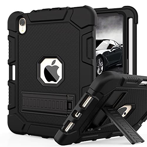 Rantice Case for iPad Mini 6 2021, with 2nd Gen Apple Pencil Charging Holder and Kickstand, Hybrid Shockproof Rugged Drop Protection Cover for iPad Mini 6th Generation 8.3 inch (Black)