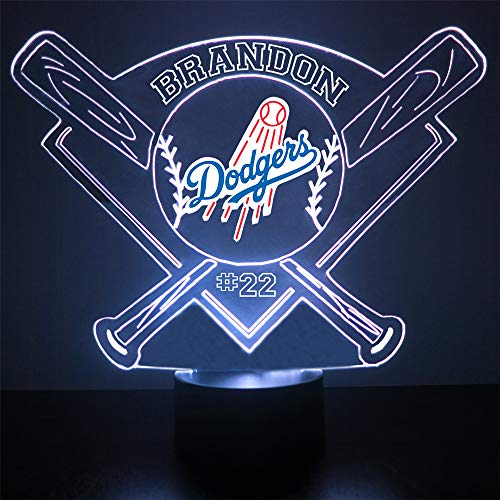 Dodgers Baseball Sports Fan Lamp / Night Light - LED - Personalize for Free - Featuring Licensed Decal