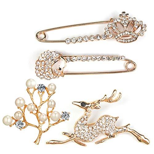 Brosche Gold 4 Stilen,Damen Broschen für Kleidung Schmucknadel, mit Faux Kristall und Perle,von Partys,Hochzeiten Weihnachtsgeschenke, Geburtstagsgeschenke