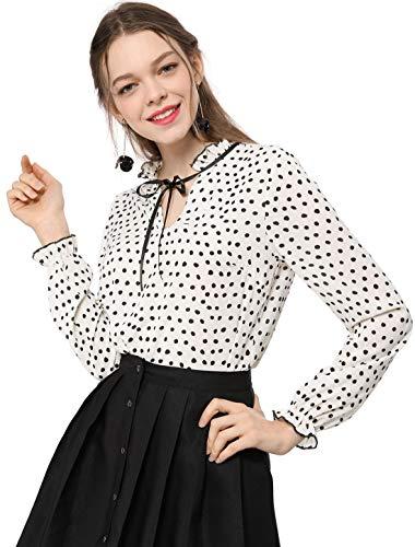 Allegra K Damen Langarm Ruffle V Neck Polka Dots Top Bluse Weiß M (EU 40)