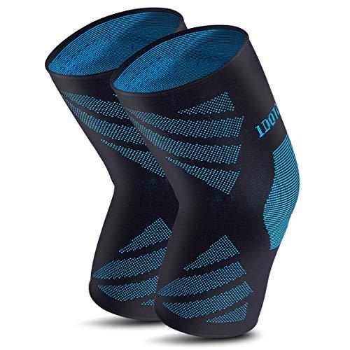 ZHIJING Sport Kniebandage Kompression atmungsaktiv Knieschoner rutschfest elastisch rechts Links für Volleyball Fitness Joggen Radfahren Skifahren für Damen Herren schwarz blau EIN Paar L 42-47cm