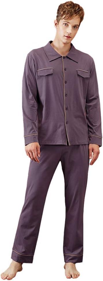 LZJDS Men's Pyjamas Set Nightshirts Sleepwear Pajamas Knitted Cotton Spring and Autumn Men's Cardigan Home Service,Sauce Purple,L
