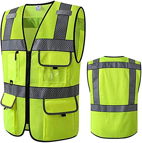 Lime Green Neon Yellow Surveyor's Safety Vest for Men Women Protective Workwear Hi Vis Vest With Pockets and Zipper Construction Work Safety Vest With Stripy Reflective Tapes (Large)