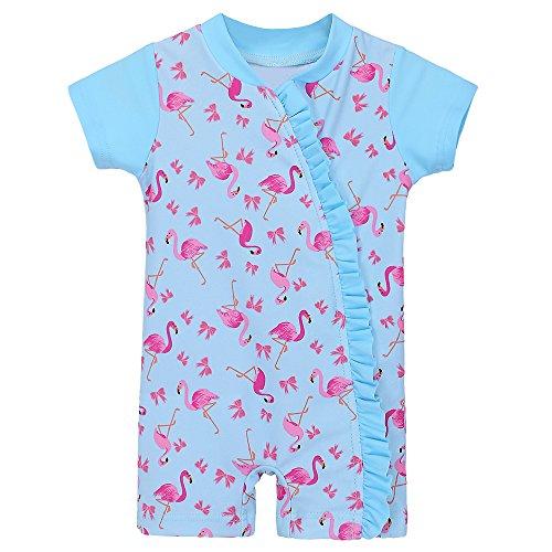 HUAANIUE Baby Meisjes ShortSleeve Een Stuk rits Badpak 6Month-3Year UPF 50+ Zonbescherming Zwemkostuum