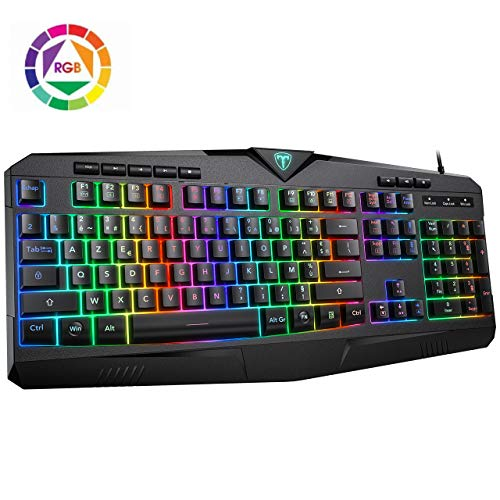 PICTEK Gaming Keyboard, USB Wired Keyboard, RGB LED Backlit, Computer Keyboard with 8 Independent Multimedia Keys & 25 Keys Anti-ghosting, Plug & Play for PC/Mac Laptop Gamer, Computer Game ect.