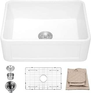 Lordear 24 Inch Apron Farmhouse Sink, Single Bowl Fireclay Farmhouse Sink Apron-Front Kitchen Sink
