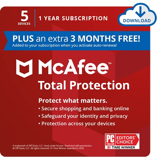 McAfee Total Protection 2021, 5 Devices, Antivirus Internet Security...
