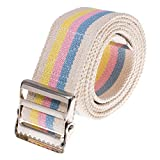 COW&COW Gait Belt 54inch - Transfer Walking and Standing Assist Aid for Caregiver Nurse Therapist 2 inches - with Metal Buckle (Pastel Stripe)